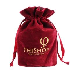 Red Velvet Pouch Bag with Drawstring