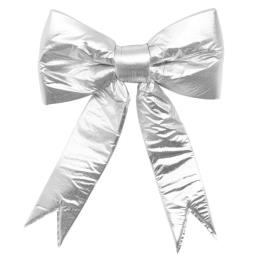 2- Loop 3D Silver Strcutural Puff Bow for Commercial and Residential Decoration
