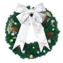 """Popular All Silver Wreath Bow 24"""""""