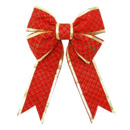 New 3D Structural Glitter Plaid Printed Bow