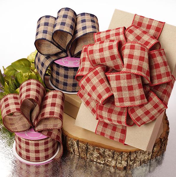 wired ribbon, plaid christmas ribbon, customized fabric ribbon